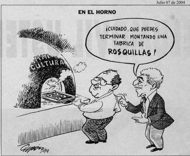 Gabriel García Márquez anuncia el futuro del Ministerio de Cultura de Ernesto Samper en una caricatura de Pepón publicada en El Tiempo.