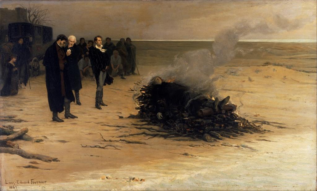 El funeral de Shelley por Louis Édouard Fournier (1889).