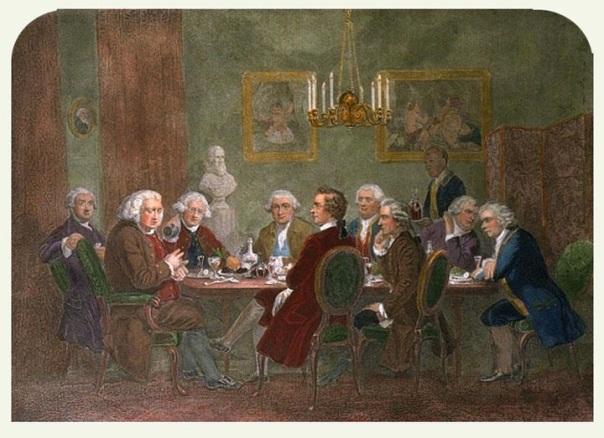 A literary party at Sir Joshua Reynolds (1851) -  D. George Thompson (1822–1892) Personajes en la pintura de izquierda a derecha: James Boswell, Samuel Johnson, Sir Joshua Reynolds, David Garrick, Edmund Burke, Pacal Paoli, Charles Burney, Thomas Warton, Oliver Goldsmith.