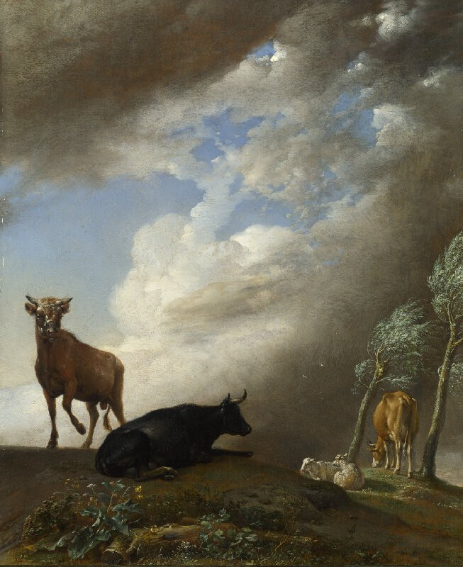 Paulus Potter - Cattle and Sheep in a Stormy Landscape (1647)